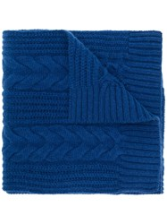N.Peal Wide Cable Scarf Blue