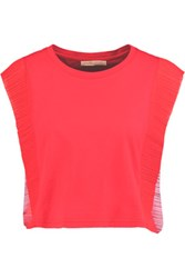 Maje Plisse Chiffon Paneled Cotton Jersey Top Red