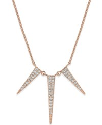 Studio Silver Cubic Zirconia Three Spike Pendant Necklace In Sterling Silver Rose Gold