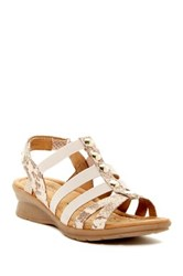 Comfortiva Kalista Sand Snake Embossed Wedge Sandal Wide Width Available Beige