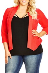 Plus Size Women's City Chic Drapey Mixed Media Blazer Hot Coral
