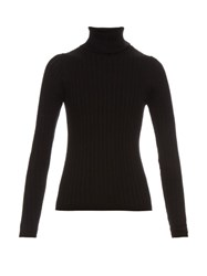 Mih Jeans Casa Roll Neck Ribbed Knit Sweater Black