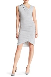 Research And Design Sleeveless Faux Wrap Dress Gray