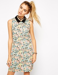 Asos Reclaimed Vintage Cluster Floral Collar Dress Multi