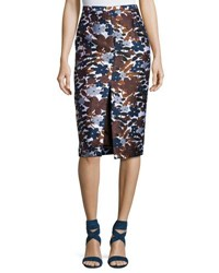 Michael Kors Floral Embroidered Pencil Skirt Brown