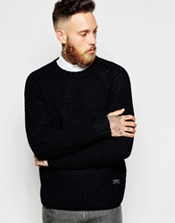 Lee Crew Knit Jumper Raglan Chunky Textured Black