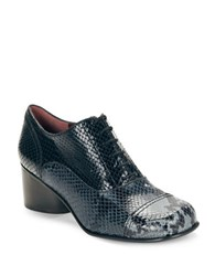 Marc Jacobs Binx Embosed Leather Oxfords Navy Blue