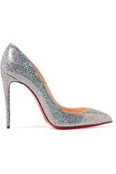Christian Louboutin Pigalle Follies 100 Glittered Leather Pumps Silver