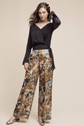 Anthropologie Blooming Jacquard Wide Leg Trousers Green Motif