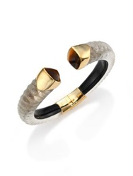 Alexis Bittar Lakana Lucite And Tiger's Eye Crocodile Textured Cuff Bracelet Gold Grey