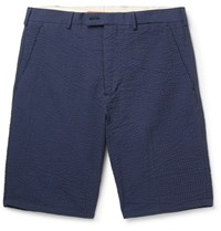 Private White V.C. Riviera Slim Fit Cotton Seersucker Chino Shorts Navy