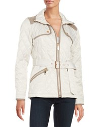 Vince Camuto Quilted Zip Front Coat White