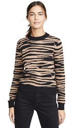 Bop Basics Tiger Stripe Crew Sweater Camel Black