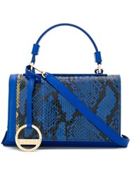 Emilio Pucci Snakeskin Effect Small Satchel Blue