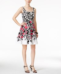 Nine West Sleevless Blooming Vines Fit And Flare Dress Pink