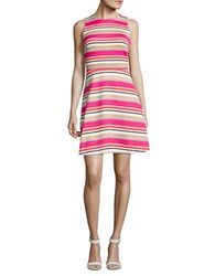 Michael Michael Kors Plus Striped Fit And Flare Dress Pink