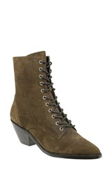 Marc Fisher Ltd Lace Up Boot Olive Suede