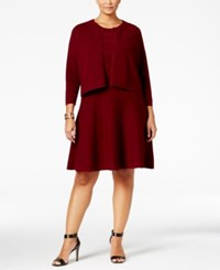 Charter Club Plus Size Fit And Flare Sweater Dress And Bolero Set Only At Macy's Cranberry Red