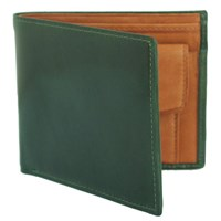 Estados Luxury Leather Mens Coin Pocket Wallet British Racing Green And Tan