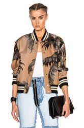 Off White Banana Leaf Varsity Bomber In Neutrals Abstract Neutrals Abstract