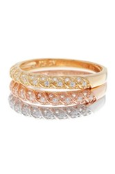 Tricolor Sterling Silver Twisted Cz Stackable Ring Set Multi