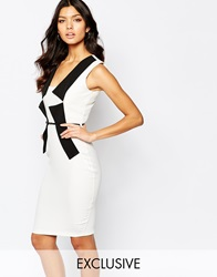 Vesper Midi Dress With Folded Neck Waistbelt Creamblack
