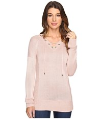 Calvin Klein V Neck Lace Up Sweater Blush Women's Sweater Pink