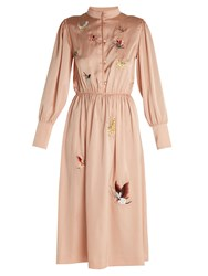 Mih Jeans Turner Butterfly Embroidered Satin Dress Light Pink