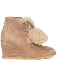 Chloe Peggy Shearling Wedge Boots Leather Suede Rubber Nude Neutrals
