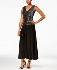 R And M Richards Metallic Sequined A Line Dress Black Silver
