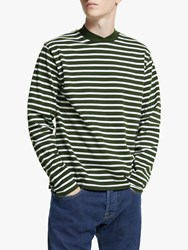 Barbour Made For Japan Lanercost Long Sleeve Stripe T Shirt Green