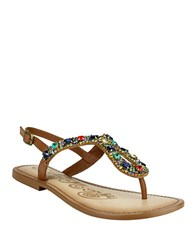 Naughty Monkey Ring Teaser Beaded Leather Thong Sandals