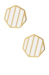 Ariella Collection Octagon Striped Stud Earrings White