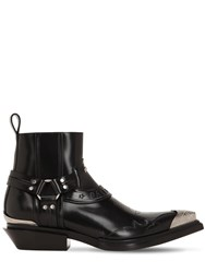 Balenciaga 40Mm Santiago Leather Western Boots Black