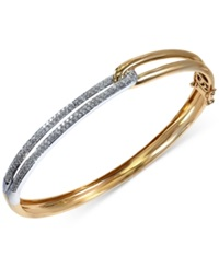 Effy Collection Duo By Effy Diamond Two Tone Bangle 5 8 Ct. T.W. In 14K Gold And 14K White Gold