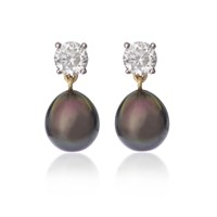 Love Is Black Tahitian Pearl And Zircon Stud Earrings