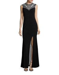 Betsy And Adam Beaded Sequined Sheath Gown Black White