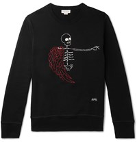 Alexander Mcqueen Embroidered Loopback Cotton Jersey Sweatshirt Black