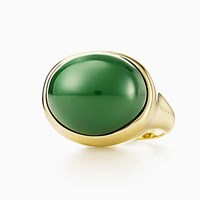 Tiffany And Co. Elsa Peretti Cabochon Ring In 18K Gold With Green Jade 19 Mm Wide.