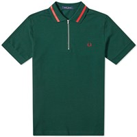 Fred Perry Authentic Zip Neck Pique Polo Green