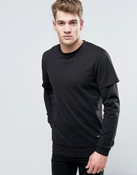 Only And Sons Long Sleeve Top With Faux Layered Arms Hem Black