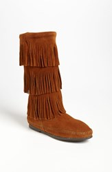 Women's Minnetonka 3 Layer Fringe Boot Brown Suede