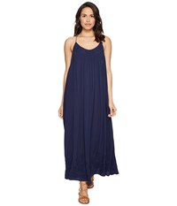 Free People Embroidered Elaine Maxi Slip Navy Women's Dress