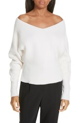 Ji Oh Off The Shoulder Wool And Cashmere Sweater Cream