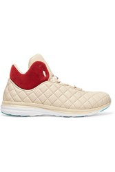 Athletic Propulsion Labs Lusso Suede Paneled Quilted Leather High Top Sneakers Beige