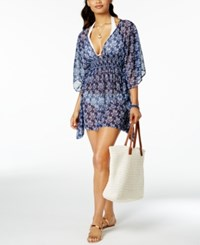 Jessica Simpson Vine About It Open Back Tunic Cover Up Women's Swimsuit Navy
