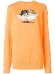 Fiorucci Angels Print Sweater Yellow And Orange