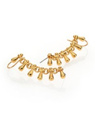 Nest Teardrop Fringe Chain Single Ear Cuff Gold