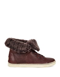 Ugg Leather And Sheepskin Sneakers Brown