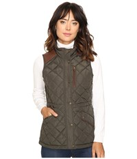 Lauren Ralph Lauren Faux Leather Trim Quilted Vest Dark Moss Women's Vest Brown